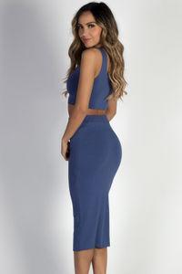 """On the Horizon"" Slate Blue Two-Piece Bodycon Midi Dress image"