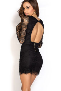 """""""Kerry"""" Black Open Back Plunging Long Sleeve Lace Dress image"""