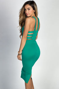 """Amelie"" Emerald Simple Elegant Cage Back Bodycon Halter Cocktail Dress image"