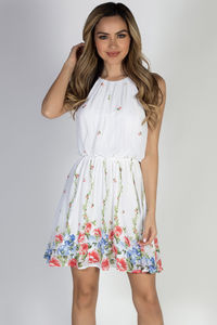"""Head in the Clouds"" Ivory Floral Short Chiffon Dress image"