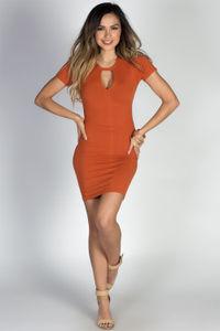 """Zanna"" Orange Spice Keyhole Cut Out Short Sleeve T Shirt Dress image"