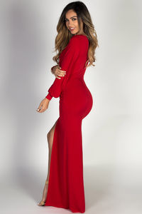 """""""Theda"""" Red Plunging Deep V Long Sleeve Maxi Dress image"""