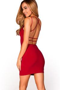 """Scarlett"" Red V Neck Strappy Backless Dress image"