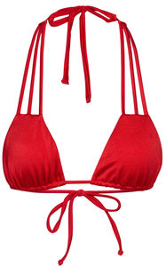 Solid Red Triple Strap Classic Scrunch Bikini Bottoms image