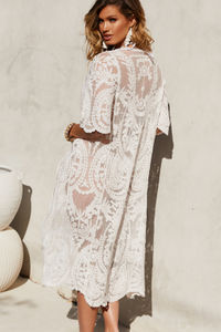 Fairytale White Short Sleeve Kimono Beach Cover Up image
