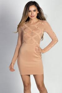 """Rita Nude Long Sleeve Studded Mesh Sheer Top Mini Dress image"