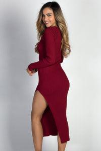 """Celine"" Burgundy Long Sleeve Thigh High Slit Long Sweater Dress image"
