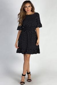 """""""Another Lifetime"""" Black Ruffled Polka Dot Skater Dress image"""