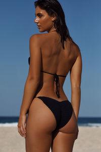 Amaryllis Black Crochet Bandeau Halter Bikini Top image