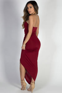 """""""Isana"""" Deep Red Strapless Cut Out Draped Maxi Gown image"""