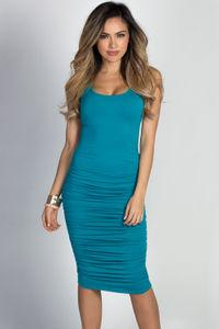 """Fabiola"" Turquoise Ruched Bodycon Jersey Tank Midi Dress image"
