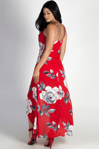 """""""Rockin' That Thang"""" Red Floral Print High-Low Dress image"""