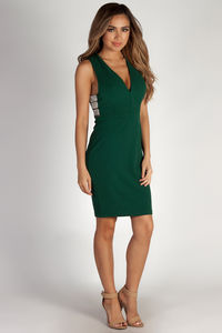"""""""Moment In Time"""" Hunter Green Rhinestone Side Bar Plunge Bodycon Dress image"""