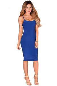 """Anna Marie"" Royal Blue Simple Bodycon Midi Slip Dress image"