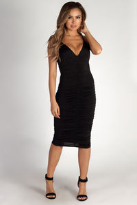 """""""Love You Twice"""" Black Cross Strap Ruched Dress image"""
