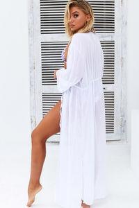 White Sheer Chiffon Cinched Waist Kimono image