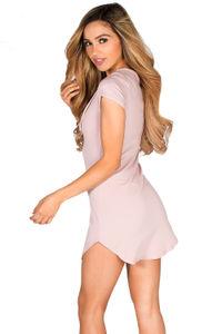 """Livia"" Mauve Pink Short Sleeve Tunic Sexy Lace Up T Shirt Dress image"