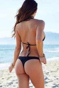 Black Sexy Brazilian Thong Bikini Bottoms image