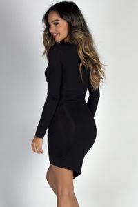 """Love You Always"" Black Asymmetrical Long Sleeve Jersey Wrap Dress image"