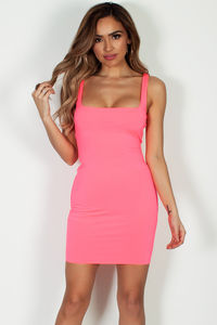 """""""Always On Time"""" Neon Pink Layered Square Neck Mini Dress image"""