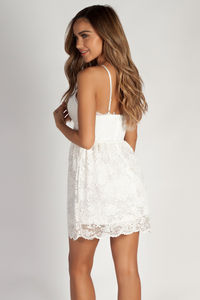 """Me Time"" White Floral Lace Skater Dress image"