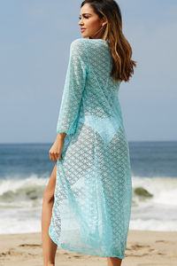 LA Sunrise Aqua Blue Crochet Beach Cover Up image