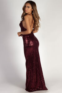 """""""Don't Hold Your Breath"""" Burgundy Sequin Evening Gown image"""