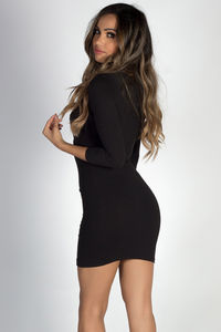 """Lover's Heart"" Black 3/4 Sleeve V Neck Mini Dress image"