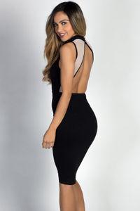 """Paulette"" Black Sleeveless Mockneck Nude Cut Out Dress image"