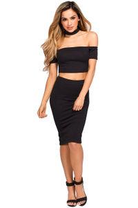 """""""Ivy"""" Black Crop Top & Skirt 2 Piece Choker Dress image"""