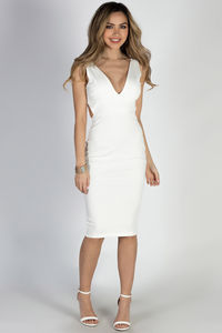 """Perfect 10"" Ivory Sleeveless Open Back Midi Cocktail Dress image"