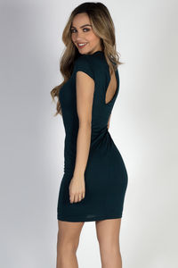 """""""Stepping Out"""" Hunter Green Plunging Lace Up Short Sleeve Dress image"""