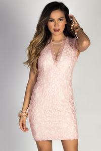 """Kiss Me"" Blush Cap Sleeve Deep V Lace Cocktail Dress image"
