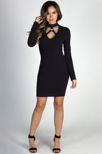 """""""Love on Top"""" Black Long Sleeve Ring Cut Out Mini Dress image"""