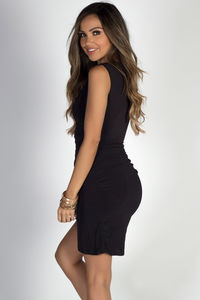 """In Your Arms"" Black Sleeveless Bodycon Wrap Dress image"