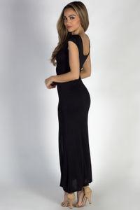 """""""Wait For It"""" Black Short Sleeve Lace Up V Neck Maxi Dress image"""
