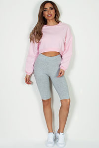 """Story To Tell"" Heather Grey Biker Shorts image"