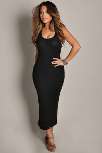 """Anabelle"" Black Cute and Casual Sleeveless Tank Maxi Dress image"