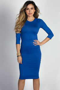"""Margo"" Royal Blue 3/4 Sleeve Jersey Bodycon Midi Dress image"