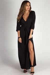 """""""Say Something"""" Black Long Sleeve V-Neck Maxi Dress image"""