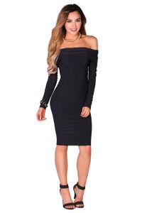 """Sabine"" Black Long Sleeve Off Shoulder Bodycon Midi Dress image"