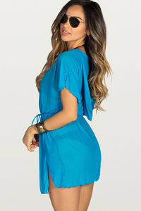 Afterparty Blue Mesh Hooded Cinch Waist Beach Cover Up image
