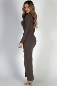 """""""I Got You"""" Cocoa Long Sleeve Lace Up Bodycon Maxi Dress image"""