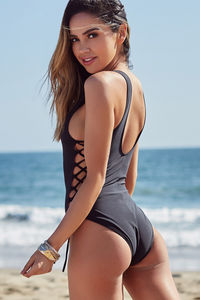Kandy Black Side Lace Up One Piece Swimsuit image