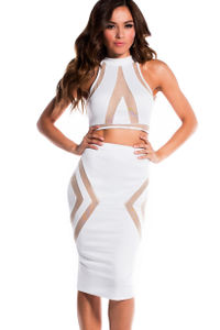 """Tori"" Pure White Illusion Mesh Cut Out Halter Crop Top Two Piece Dress image"