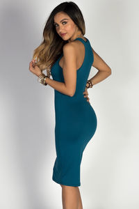 """Body Talk"" Teal Blue Jersey Bodycon Tank Midi Dress image"