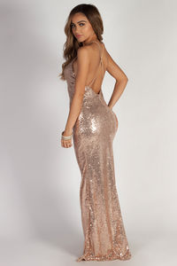 """Don't Hold Your Breath"" Rose Gold Sequin Evening Gown image"