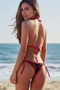 Laguna Red Floral Velvet & Red Classic Bikini Top image