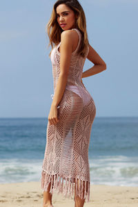 Chianti Mauve Fringed Crochet Maxi Beach Dress Cover Up image