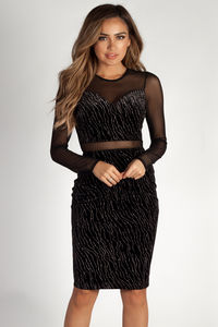 """Now or Never"" Black & Silver Velvet Mesh Cutout Dress image"